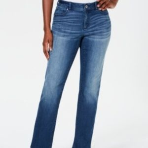 INC Denim Straight Leg Curvy Fit Stretch Jeans 14